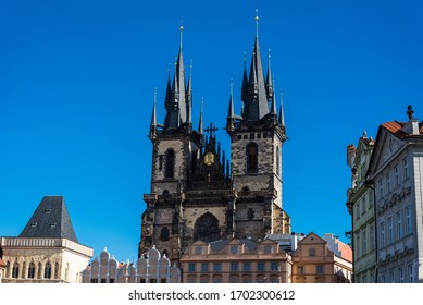 Church of Our Lady before Týn (or Týn Church) in Old Town Square in Prague, Czech Republic. Architecture and landmark of Prague, postcard of Prague