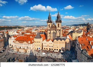 Church of Our Lady before Týn and Prague skyline rooftop view in in Czech Republic