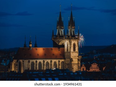 Church of Our Lady before Týn in Prague during twilight. Fireworks in the background. - Shutterstock ID 1934961431