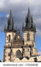 Church of Our Lady before Tyn in Prague, early gothic dominant feature of the Old Town of Prague, Czech Republic.