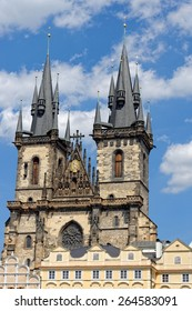 Church of our Lady before Tyn - Tyn Church in the Old town square in Prague, Czech Republic. The name of the church originates from the Tyn Courtyard behind the church.