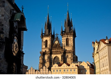 The Church of Our Lady before Tyn, Prague, with the Astronomical Clock in the foreground.