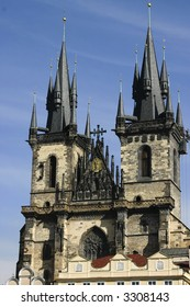 Church of Our Lady before Tyn and old town square in Prague, Czech Republic