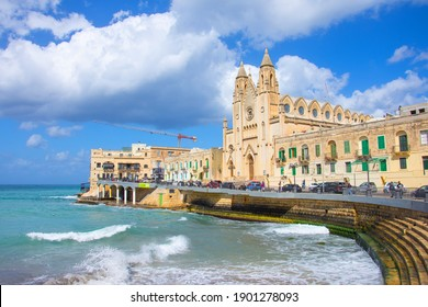 Church of Our Lady of Carmel on Balluta Bay in Sliema, Valletta, Capital city of Malta. 06 may 2019