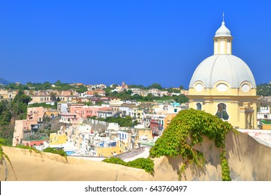 Church of our Lady Grace surrounded by traditional buildings on the island of Procida, bay of Naples, southern Italy