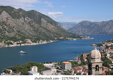 Church of Our Lady of Remedy Kotor bay landscape Montenegro
