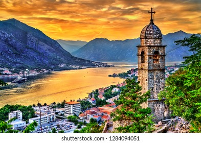 Church of Our Lady of Remedy in Kotor at sunset. Montenegro - Balkans, Europe