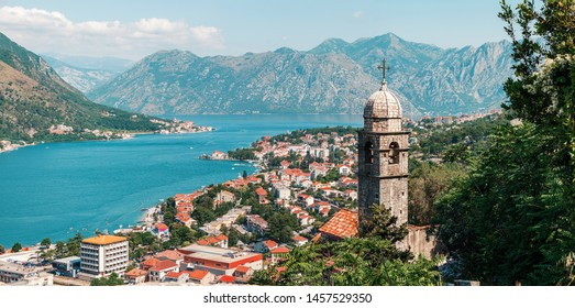 Church Our Lady of Remedy on the high hill above the ancient town Kotor and boka kotor bay, Montenegro.