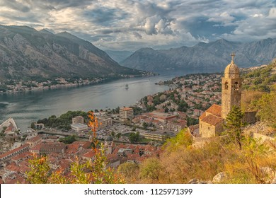 The Church of Our Lady of Remedy overlooking the bay of Kotor in Montenegro.