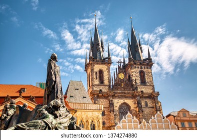 Church of Our Lady Tyn and Jan Hus statue from Old Town Square Staromestska Prague, Czech Republic during summer sunny day