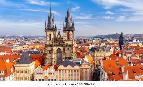 Church of our lady Tyn, and Powder Tower, Prague, Czechia