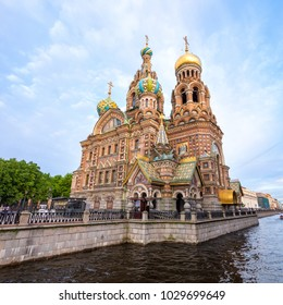 The Church of Our Savior on the Spilled Blood on sunny day with blue sky, Saint Petersburg, Russia.