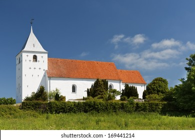 The church at Ovsted near Horsens, Denmark. Copy space