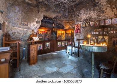 Church of Panagia in a cave, Matala, Crete, Greece on May 01, 2018