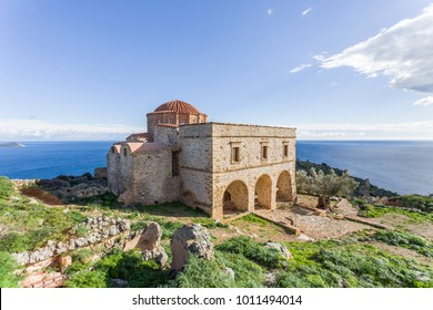 church of Panagia Odigitria in Byzantine town of Monemvasia, Greece, 04 JAN 2018