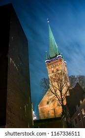 Church Petrikirche in Lübeck (Germany) by night