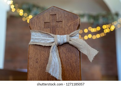 church pew with bokeh background