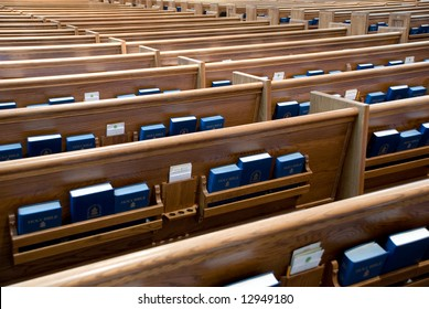 Church pews in a 100+ years old Presbyterian Church, Chicago is waiting for parishioners
