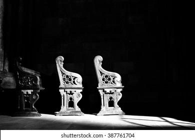 Church pews in black and white