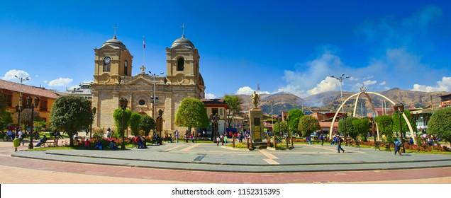 Church and plaza de Huancayo, April 2014, Peru