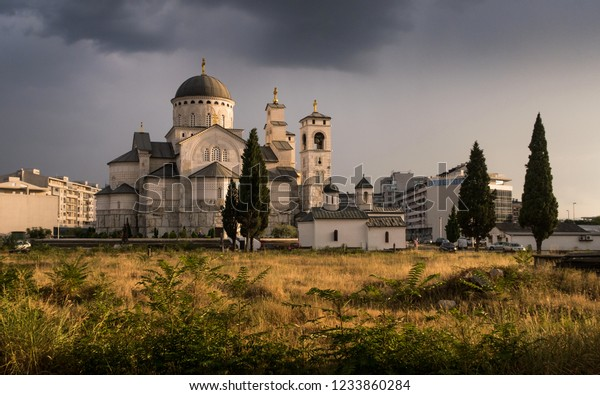 Church in Podgorica, Montenegro.  Cathedral of the Resurrection of Christ (Podgorica)