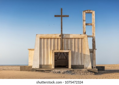 Church in the province of Namibe. Angola. Africa, Church of Portuguese colonial time.