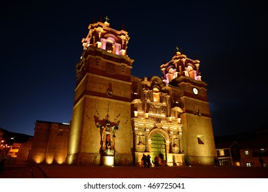 Church in Puno at night, Titicaca lake, Peru.