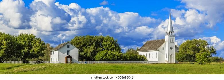 The church and rectory of Saint Antoine de Padoue in Batoche, Saskatchewan