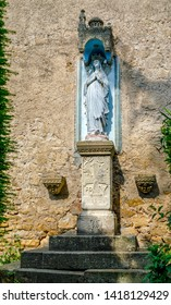 Church of Rennes le Chateau, France. Detail of the Statue of the Virgin of Fatima outside