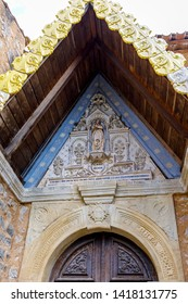 Church of Rennes le Chateau, France.  Detail of the entrance porch