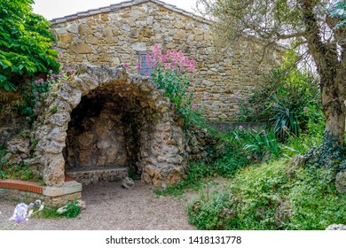 Church of Rennes le Chateau, France. Detail of the Representation of Fatima's cave