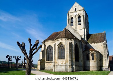 "The church represented by the artist-impressionist Vincent van Gogh in a picture "" The Church at Auvers"", Auvers-sur-Oise, France"