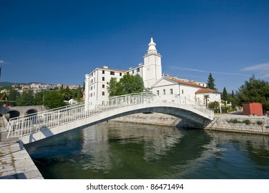 Church of the Resumption of the Blessed Virgin Mary and the bridge in Crikvenica - Stone bridge over the canal, old castle and church tower in Crikvenica
