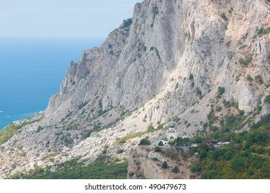 Church of the Resurrection build on Red Rock cliff near Foros village, Crimea, Russia