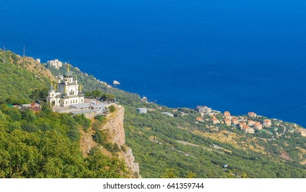 The Church of the Resurrection of Christ on a cliff above the sea in Foros in Crimea