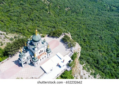 Church of the Resurrection of Christ in Red Rock (above sea level, 412 meters). Black Sea, Foros, Crimea, Russia. Aerial drone photo.