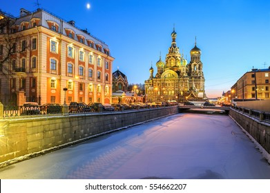Church of the Resurrection of Christ (Savior on Spilled Blood), evening view, St Petersburg, Russia