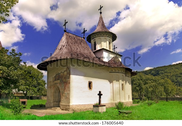 Church in Romania of christian orthodox monastery in Patrauti Suceava Moldova oldest surviving church built in 1487 during Stephen the Great reign