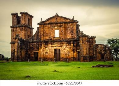 Church, Ruins of Sao Miguel das Missoe, Rio Grande do Sul, Brazil.