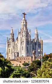 Church of the Sacred Heart of Jesus,located on the summit of Mount Tibidabo in Barcelona, Catalonia, Spain