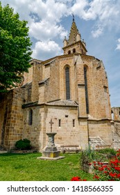 Church of Saint Andrew in the French village square of Alet les Bains in Aude, Occitania in the south of France