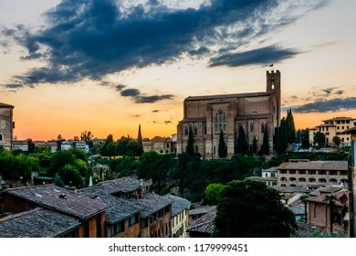 The church of Saint Dominic (San Domenico) in Siena, Toscany, during the sunset