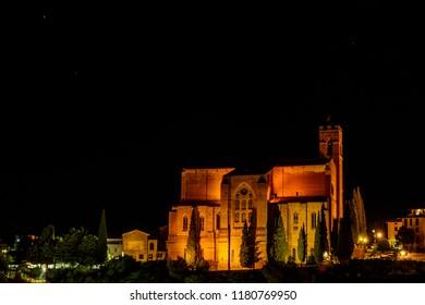 The church of Saint Dominic (San Domenico) in Siena, Toscany, at night