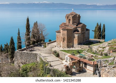 The Church of Saint John the Theologian, overlooking the blue waters of Lake Ohrid in the Republic of North Macedonia.