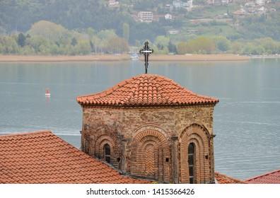 Church of Saint Sophia Ohrid, lake Ohrid background
