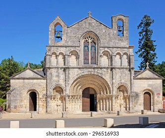 Church of Saint Vivian in Pons, Charente-Maritime, France, with a twelfth century roman style facade and a pilgrim hospital for pilgrims that walk to Santiago de Compostella in Spain