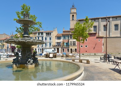 Church Sainte Madeleine and fountain at Martigues in France, a commune northwest of Marseille. It is part of the Bouches-du-Rhône department in the Provence-Alpes-Côte d'Azur region