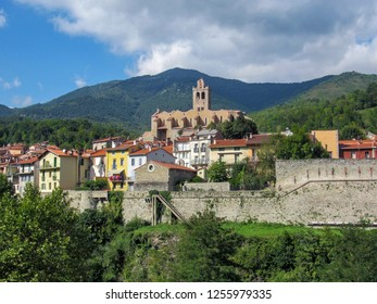 The church of Saint-Juste-et-Sainte-Ruffine in medieval walled town Prats-de-Mollo-la-Preste in Upper Vallespir, on the left bank of the Tech river, Pyrenees-Orientales in southern France - Shutterstock ID 1255979335