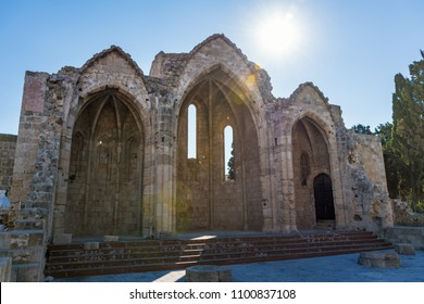 Church of Saint-Marie-du-Bourg in old town in City of Rhodes (Rhodes, Greece)