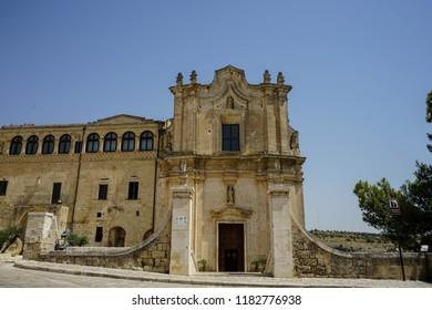 Church of San Agostino. Old rock church in Matera, Basilicata. Italy